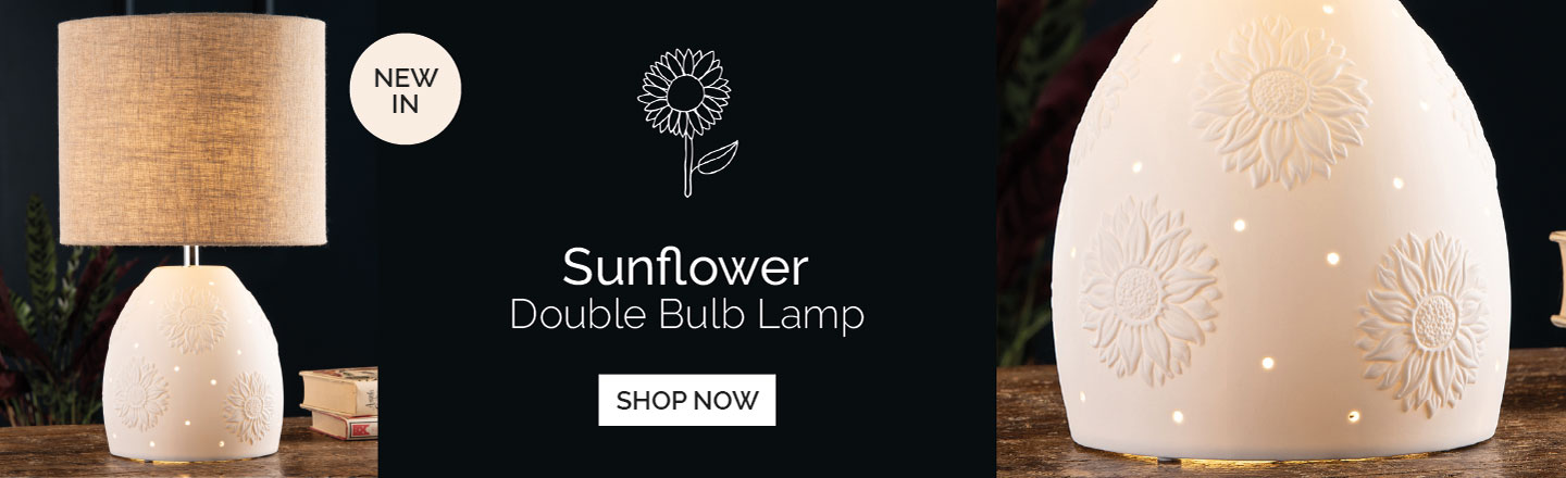 BELLEEK LIVING SUNFLOWER DOUBLE BULB LAMP
