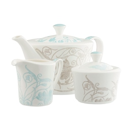 Belleek Living Novello Teapot Sugar and Cream Set