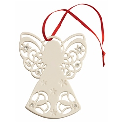 Belleek Living Angel with Gems Hanging Ornament