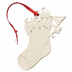 Belleek Living Stocking With Gems - Hanging Ornament