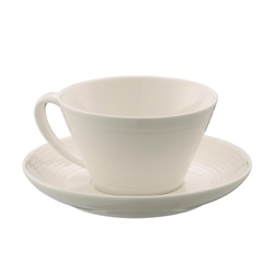 Belleek Living Ripple Teacup and Saucer Set