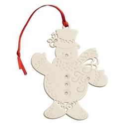 Belleek Living Snowman With Gems - Hanging Ornament
