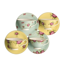 Aynsley Archive Rose Teacup and Saucer Set