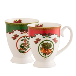 Aynsley Christmas Footed Mugs Set