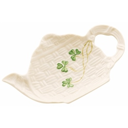 Belleek Classic Shamrock Spoon and Teabag Rest
