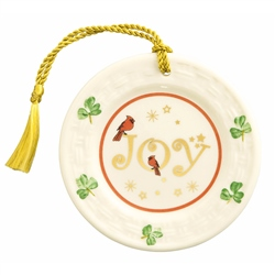 Belleek Classic Joy Plate Hanging Ornament