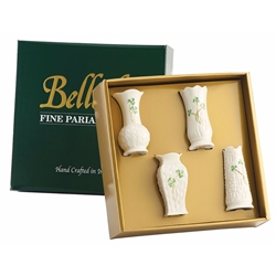 Belleek Classic Mini Shamrock Vase Set of 4
