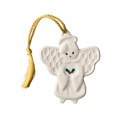 Belleek Classic Angel with Holly Flat Ornament