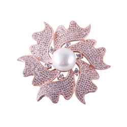 Designer Jewellery Rose Gold Pearl Brooch