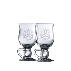 Galway Crystal Trinity Knot Latte Mugs Pair