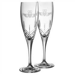 Galway Crystal CLADDAGH FLUTES PAIR