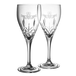 Galway Crystal Claddagh White Wine Pair