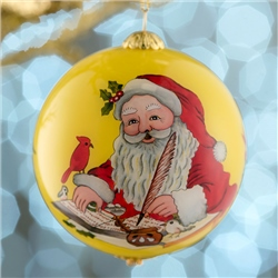 Belleek Living Santa's List Glass Bauble