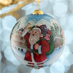 Belleek Living Santa's Workshop Glass Bauble