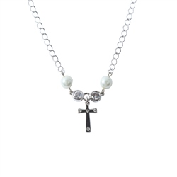 Designer Jewellery Cross Ivory Bead Necklace