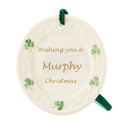 Belleek Classic Personalised Shamrock Ornament
