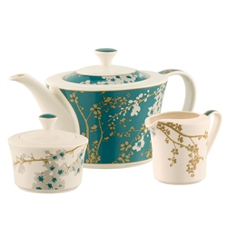 Belleek Living Bellevue Teapot Sugar & Cream Set