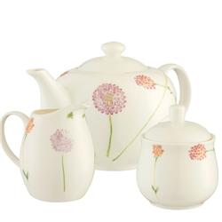 Aynsley Bloom Teapot, Sugar & Cream Set