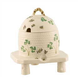 Belleek Classic Shamrock Honeypot on Stand