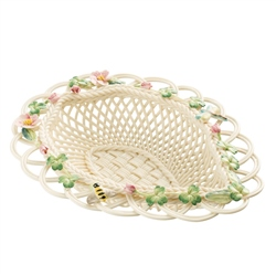 Belleek Classic Wild Rose Leaf Basket