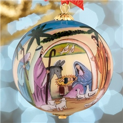 Belleek Living Nativity Glass Bauble
