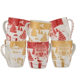 Aynsley Christmas in the Country Mug Set