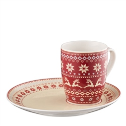 Aynsley Fairisle Mug and Tray