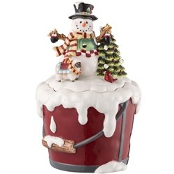 aynsley santas christmas gift scene aynsley snowman cookie jar