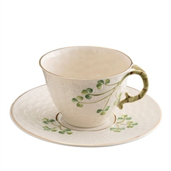 Belleek Classic 1880 - Gold Shamrock Cup and Saucer