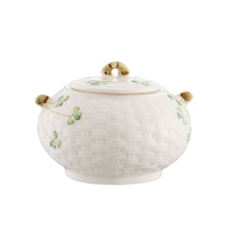 Belleek Classic 1880 - Gold Shamrock Sugar Pot and Lid