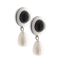 Belleek Designer Jewellery Onyx Pearl Drop Earrings