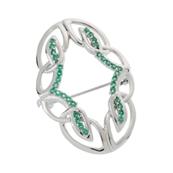 Belleek Designer Jewellery Emerald Brooch