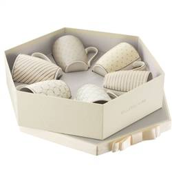 Belleek Living Geometric Pastles 6 Mugs Hexagon Box