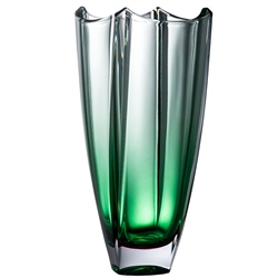 "Galway Crystal Emerald Dune 12"" Square Vase"