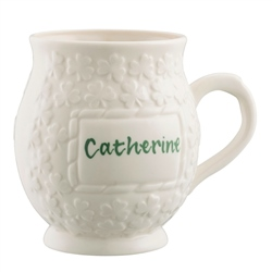 Belleek Classic Lucky Shamrock Personalised Mug