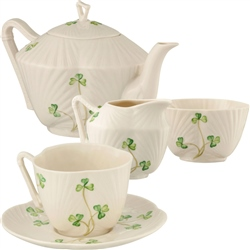 Belleek Classic Harp Shamrock Teaset Bundle