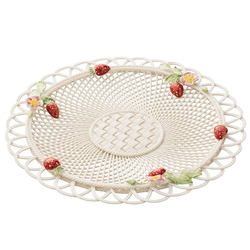 Belleek Classic Strawberry Basketweave Basket - Exclusive