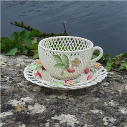 Belleek Classic Strawberry Basketweave Cup and Saucer - *Belleek.com -Exclusive*