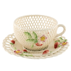 Belleek Classic Strawberry Basketweave Cup and Saucer