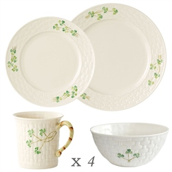 Belleek Classic Shamrock 16 Piece Dining Set