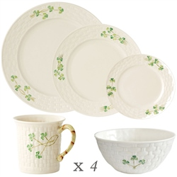 Belleek Classic Shamrock 20 Piece Dining Set