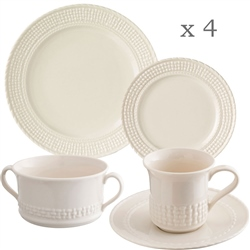 Belleek Classic Galway Weave 16 Piece Dining Set