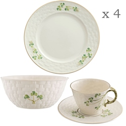 Belleek Classic 1880 - Shamrock Gold 12 Piece Set