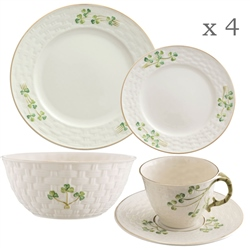 Belleek Classic 1880 - Shamrock Gold 16 Piece Set - *Belleek.com - Exclusive*