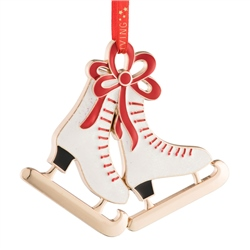 Belleek Living Ice Skates Enamel Ornament