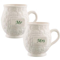 Belleek Classic Mr and Mrs Shamrock Mugs