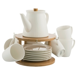 Belleek Living Pekoe 13 Piece Set & Stand