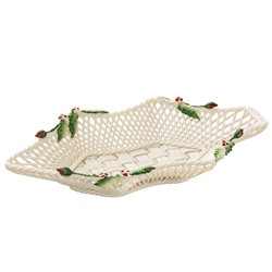 Belleek Classic Holly & Ivy Basket