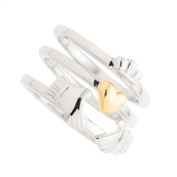 Galway Crystal Jewellery Three Part Claddagh Sterling Silver & Gold Ring