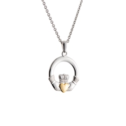 Galway Crystal Jewellery Claddagh Pendant Sterling Silver & Gold